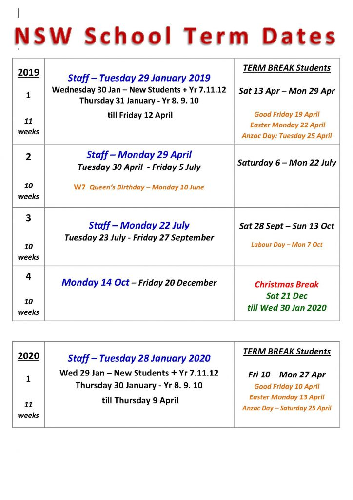 NSW School Term Dates 2019
