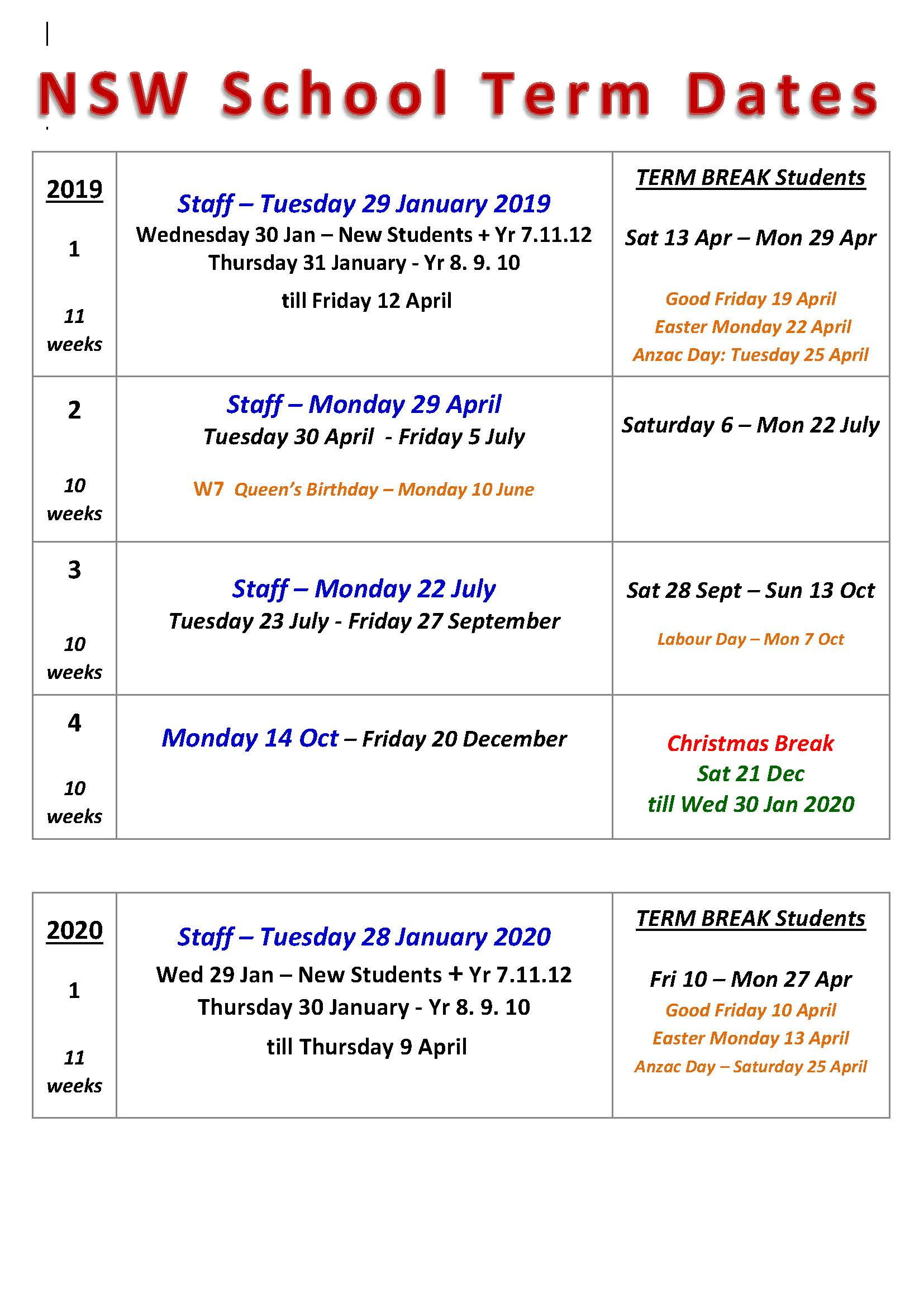 NSW School 2020 Holidays List