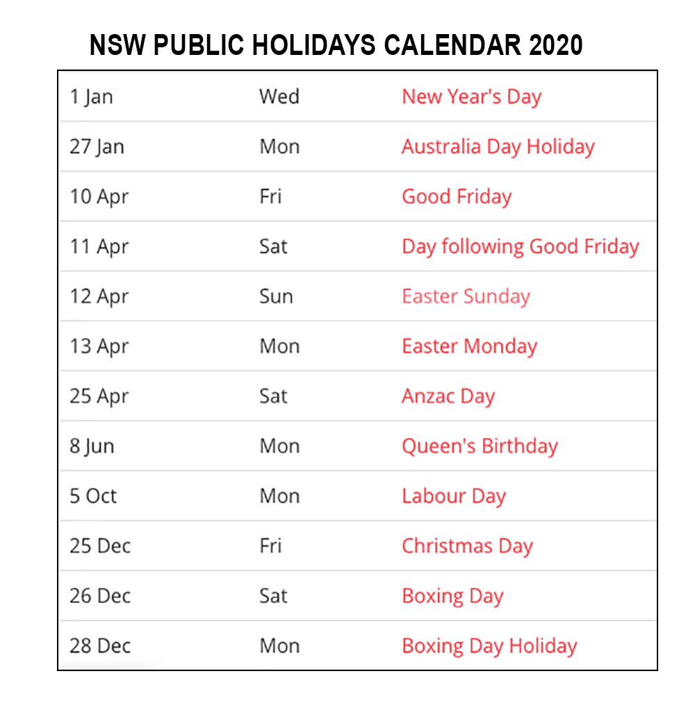 2020 nsw public holidays