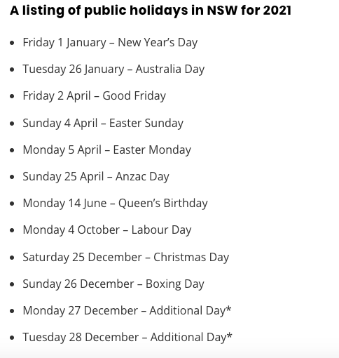 nsw public holidays 2021
